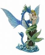Mermaid Comforting Water Dragon Figurine Statue Ornament Mystical Sculpture
